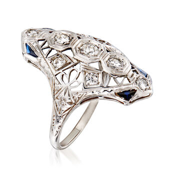 C. 1950 Vintage .55 ct. t.w. Diamond Openwork Ring with Synthetic Sapphire Accents in 18kt White Gold. Size 6