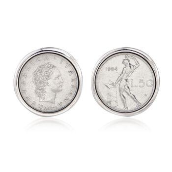 Men's Genuine 50-Lira Coin Cuff Links in Sterling Silver, , default