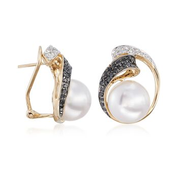 9.5-10mm Cultured Pearl and .37 ct. t.w. Black and White Diamond Frame Earrings in 14kt Yellow Gold, , default