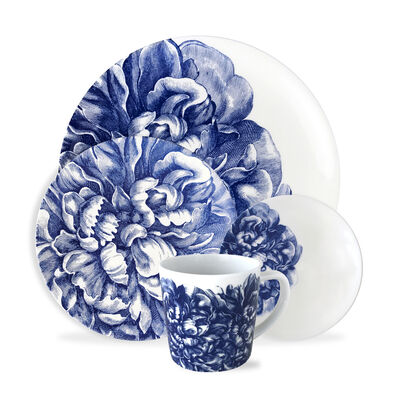 """Caskata """"Peony Blue"""" Blue and White Porcelain Dinnerware"""