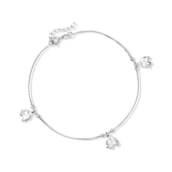Sterling Silver Elephant Charm Anklet. 9""