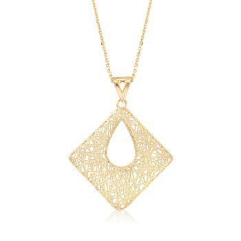 "Italian 14kt Yellow Gold Open Linework Square Pendant Necklace. 18"", , default"