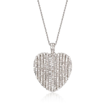1.50 ct. t.w. Diamond Heart Pendant Necklace in Sterling Silver, , default