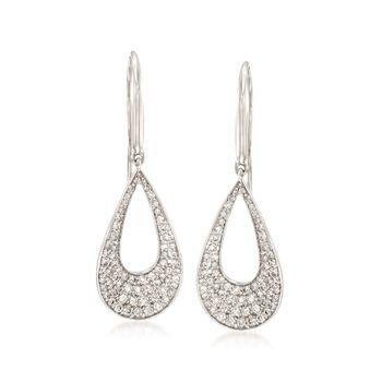 Roberto Coin .70 ct. t.w. Diamond Open Teardrop Earrings in 18kt White Gold , , default
