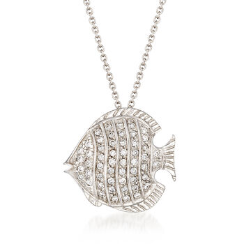 """Roberto Coin """"Tiny Treasures"""" .25 ct. t.w. Diamond Fish Necklace in 18kt White Gold. 16"""", , default"""