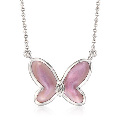 Pink Mother-Of-Pearl Butterfly Necklace with Diamond Accents in Sterling Silver, , default