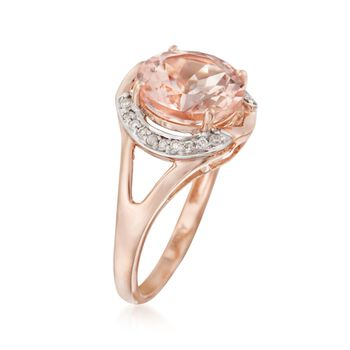 3.50 Carat Morganite and .14 ct. t.w. Diamond Ring in 14kt Rose Gold, , default