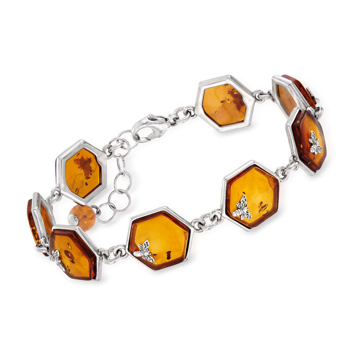 Amber Honeycomb and Bumblebee Bracelet in Sterling Silver. 7""