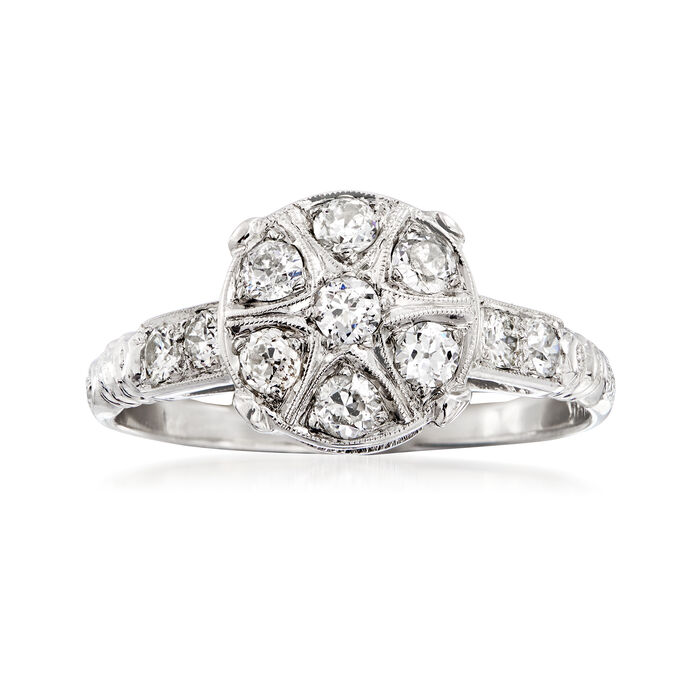 C. 1980 Vintage .55 ct. t.w. Diamond Cluster Ring in 18kt White Gold. Size 6.5, , default