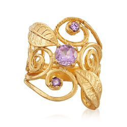 .80 ct. t.w. Amethyst Leaf Ring in 18kt Yellow Gold Over Sterling Silver, , default