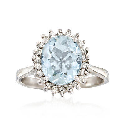 C. 1970 Vintage 2.10 Carat Aquamarine and .25 ct. t.w. Diamond Ring 14kt White Gold, , default