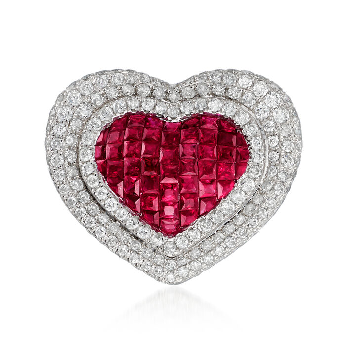 1.90 ct. t.w. Ruby and 1.85 ct. t.w. Diamond Heart Pendant in 18kt White Gold, , default