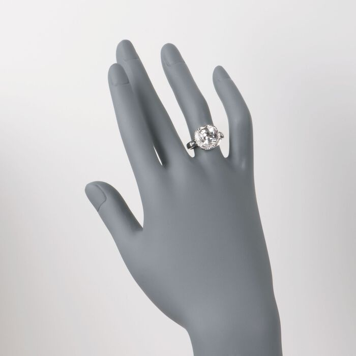 5.00 Carat White Topaz and Diamond Ring in 14kt White Gold