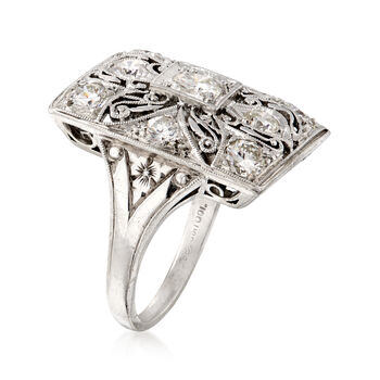 C. 1980 Vintage 1.30 ct. t.w. Diamond Filigree Ring in Platinum. Size 5, , default