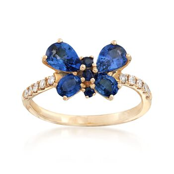 1.39 ct. t.w. Sapphire and .12 ct. t.w. Diamond Butterfly Ring in 14kt Yellow Gold , , default