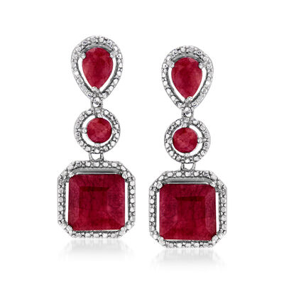 10.70 ct. t.w. Ruby Drop Earrings in Sterling Silver