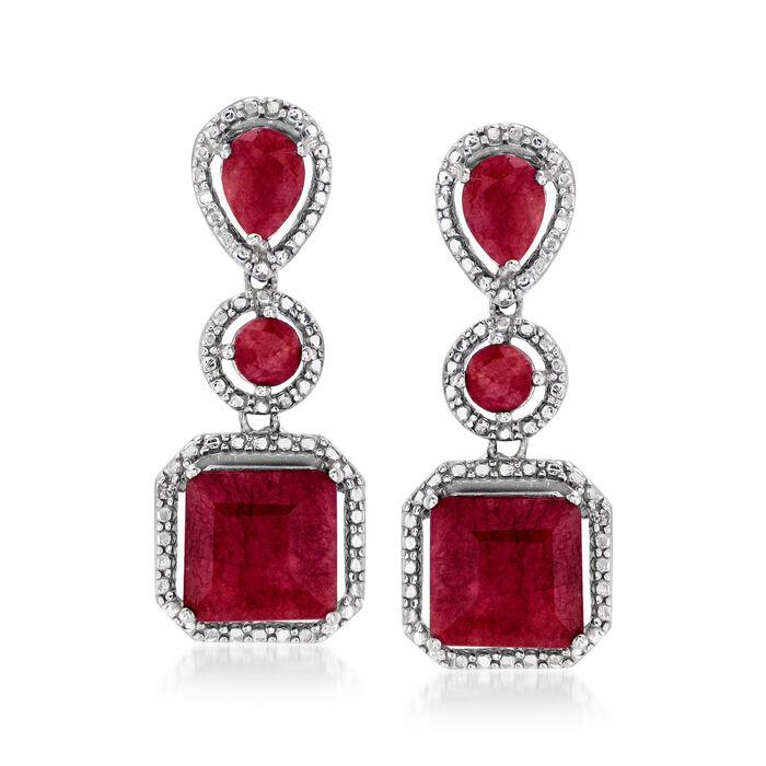 10.70 ct. t.w. Ruby Drop Earrings in Sterling Silver
