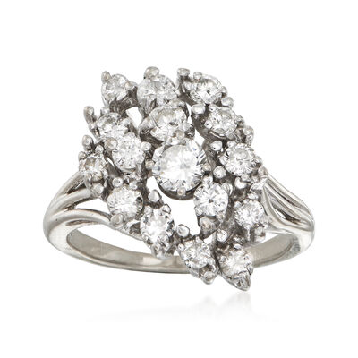 C. 1980 Vintage 1.05 ct. t.w. Diamond Cluster Ring in 14kt White Gold, , default