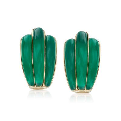 14kt Yellow Gold Green Chalcedony Earrings, , default