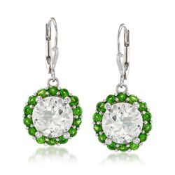 7.00 ct. t.w. Green Amethyst and 1.80 ct. t.w. Chrome Diopside Drop Earrings in Sterling Silver, , default