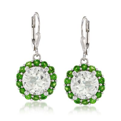 7.00 ct. t.w. Green Prasiolite and 1.80 ct. t.w. Chrome Diopside Drop Earrings in Sterling Silver, , default