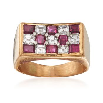 C. 1980 Vintage 1.45 ct. t.w. Ruby and .95 ct. t.w. Diamond Checkerboard Ring in 18kt Yellow Gold. Size 5, , default