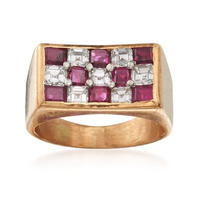 C. 1980 Vintage 1.45 ct. t.w. Ruby and .95 ct. t.w. Diamond Checkerboard Ring in 18kt Yellow Gold, , default