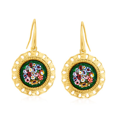 Italian Murano Glass Floral Drop Earrings in 18kt Gold Over Sterling