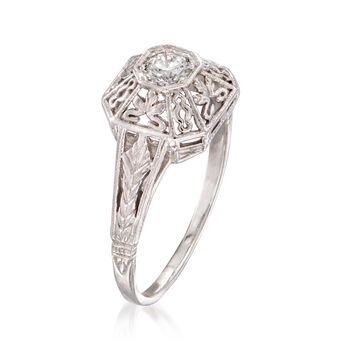C. 2000 Vintage .20 Carat Diamond Filigree Ring in 14kt White Gold. Size 6.75