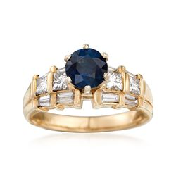 C. 1990 Vintage 1.30 Carat Sapphire and 1.00 ct. t.w. Diamond Ring in 14kt Yellow Gold . Size 7, , default