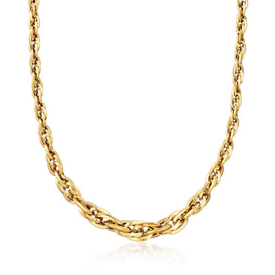 Italian 18kt Yellow Gold Graduated Link Necklace , , default