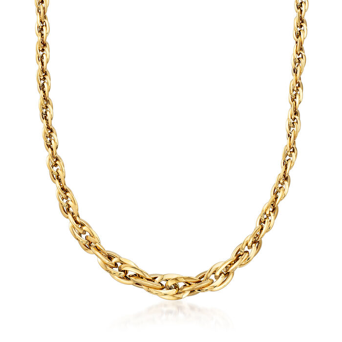 Italian 18kt Yellow Gold Graduated Link Necklace