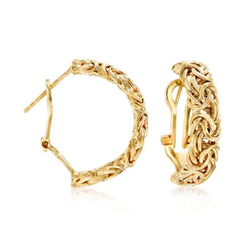 "18kt Yellow Gold Over Sterling Silver Byzantine Omega Hoop Earrings. 7/8"", , default"