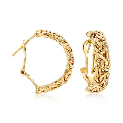 18kt Yellow Gold Over Sterling Silver Byzantine Omega Hoop Earrings, , default