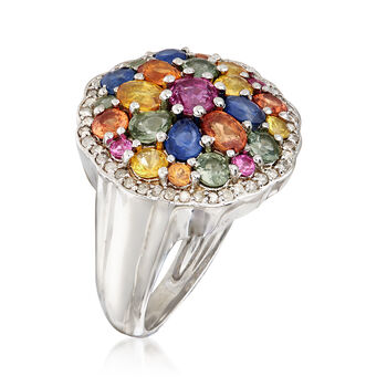 2.40 ct. t.w. Multicolor Sapphire and .23 ct. t.w. Diamond Ring in Sterling Silver, , default