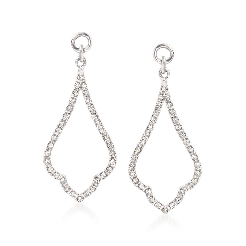 T W Diamond Open Drop Earring Jackets In Sterling Silver Default