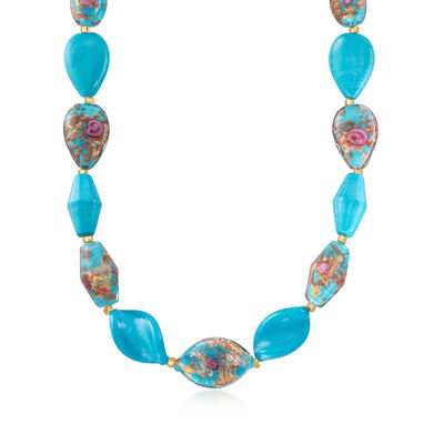Italian Multicolored Murano Bead Necklace in 18kt Gold Over Sterling
