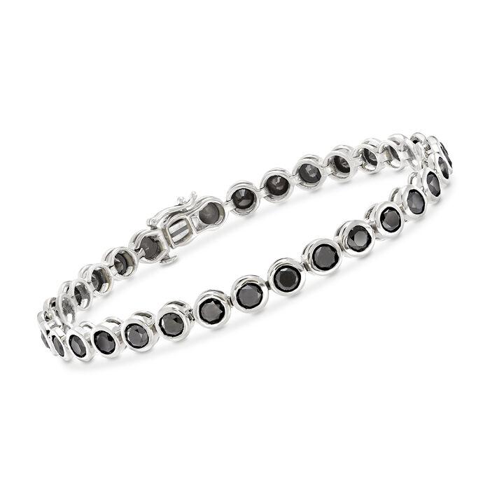 "8.00 ct. t.w. Bezel-Set Black Diamond Tennis Bracelet in 14kt White Gold. 7"""