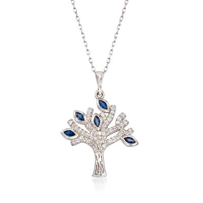 .40 ct. t.w. Sapphire and .30 ct. t.w. White Topaz Tree of Life Pendant Necklace in Sterling, , default