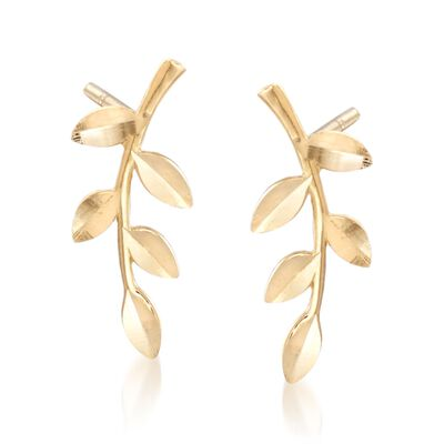 18kt Yellow Gold Branch Earrings, , default