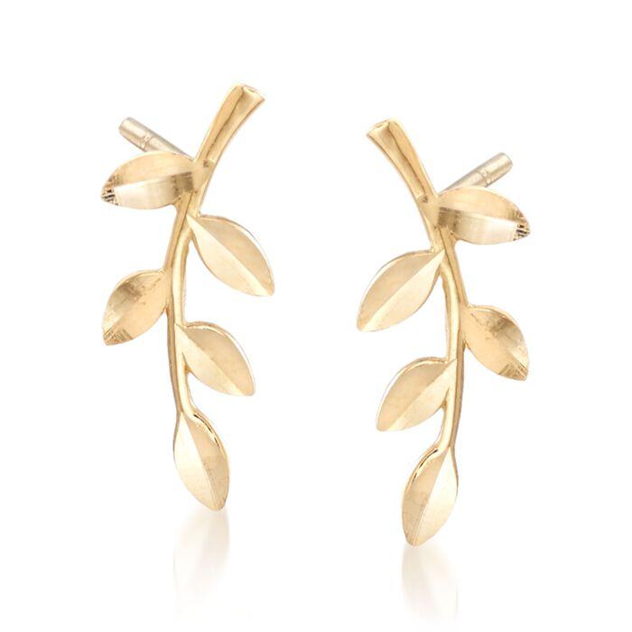 18kt Yellow Gold Branch Earrings , , default