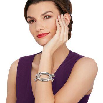 Italian Sterling Silver Large Link Cuff Bracelet, , default