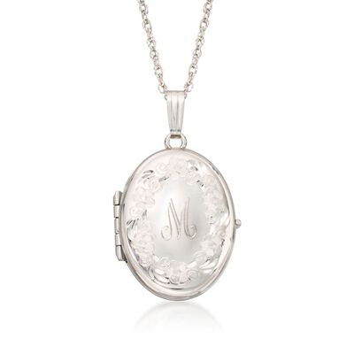Sterling Silver Engraved Four-Photo Oval Locket Necklace, , default