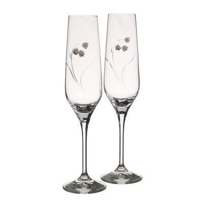 """Lily"" Set of 2 Toasting Flute Glasses"