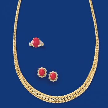 Red Coral and .20 ct. t.w. Diamond Earrings in 18kt Yellow Gold, , default