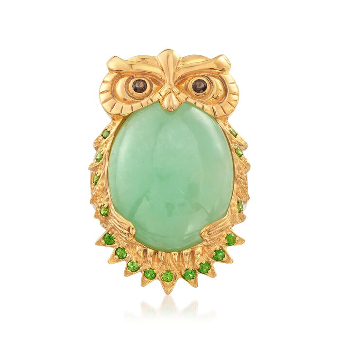 Green Jade and 1.10 ct. t.w. Chrome Diopside Owl Ring With Smoky Quartz in 14kt Gold Over Sterling, , default