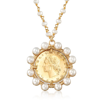 Italian 3-4.5mm Cultured Pearl and 22kt Gold Over Sterling Replica Lira Coin Pendant Necklace, , default