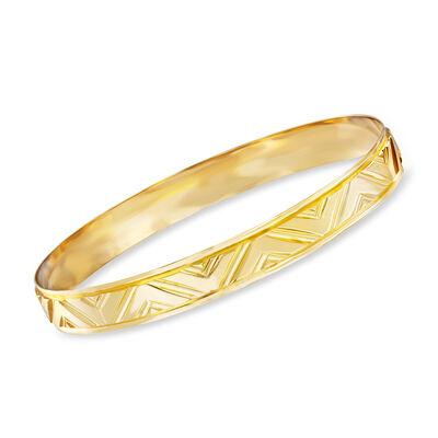 Italian 18kt Yellow Gold Flat Chevron Bangle Bracelet, , default