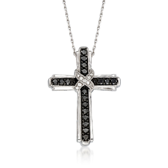 1.00 ct. t.w. Black and White Diamond Cross Pendant Necklace in Sterling Silver