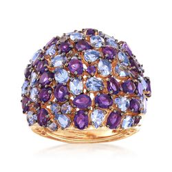 3.90 ct. t.w. Tanzanite and 3.90 ct. t.w. Amethyst Dome Ring in 18kt Gold Over Sterling, , default